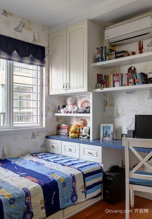 美式二层复式楼书房带床装修效果图