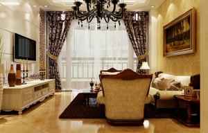 跃层式住宅客厅欧式罗马柱装修效果图