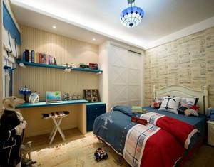 两居室地中海风格儿童卧室背景墙装修效果图