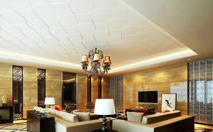 现代时尚客厅扣板吊顶装修效果图