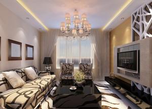 110㎡简约流畅现代风格客厅吊顶电视背景墙装修效果图
