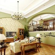 青绿小清新美式田园客厅