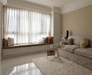 单身公寓欧式客厅飘窗窗帘装修效果图