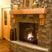 客厅火炉青石砖效果