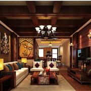东南亚客厅生态木吊顶
