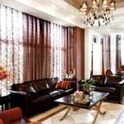 深色调客厅窗帘设计