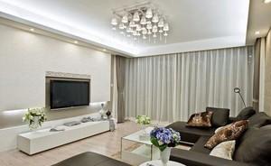 两室一厅大户型现代客厅硅藻泥电视背景墙装修效果图