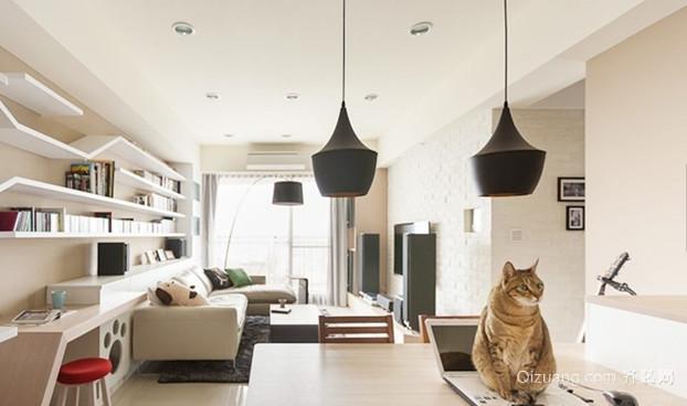 三居室北欧风格客厅吊顶电视背景墙装修效果图