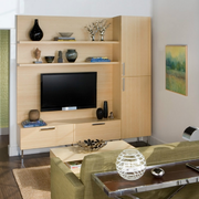 客厅原木色的置物柜