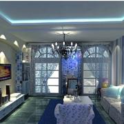 蓝紫色梦幻家装客厅