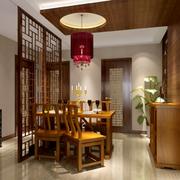 餐厅实木隔断设计