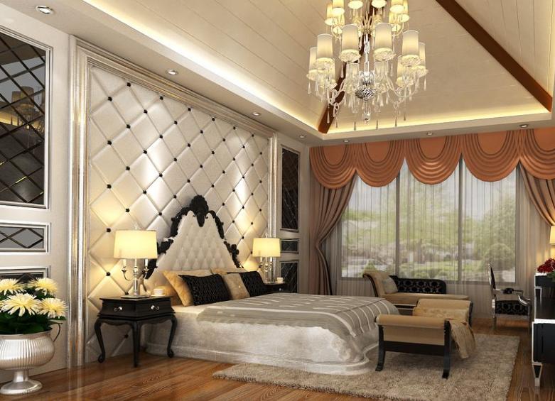 单身公寓欧式卧室 床头软包背景 墙装修 效果图