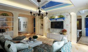三室一厅地中海风格客厅吊顶电视背景墙装修效果图