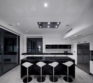 100㎡开放式现代风格厨房设计装修效果图