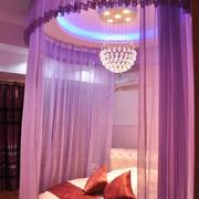 卧室紫色床幔图片
