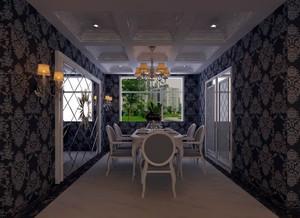 110㎡尊贵典雅欧式风格餐厅吊顶背景墙装修效果图