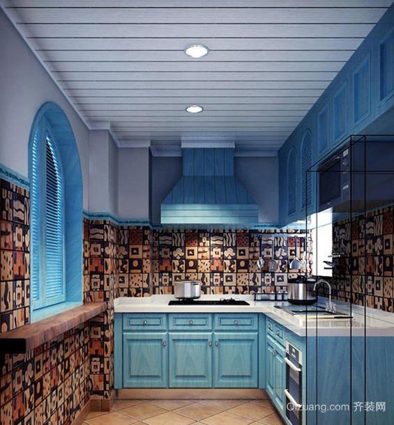 120平米蓝色经典地中海风格厨房设计装修效果图