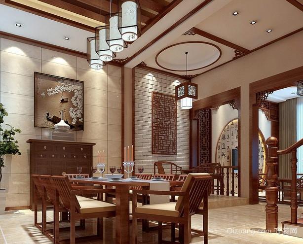 80平大型新中式客厅吊顶装修效果图