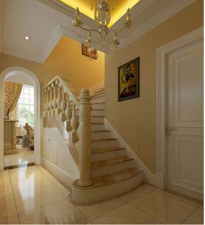 暖色调的别墅楼梯