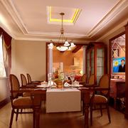 温馨色调餐厅吊顶图片
