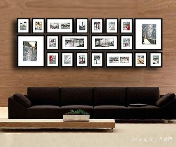 黑白相框照片墙效果图