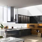 厨房黑色不锈钢橱柜