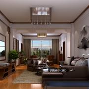 跃层式现代中式客厅