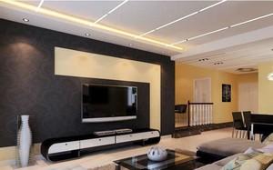 儒雅吸人眼球客厅电视墙造型装修效果图