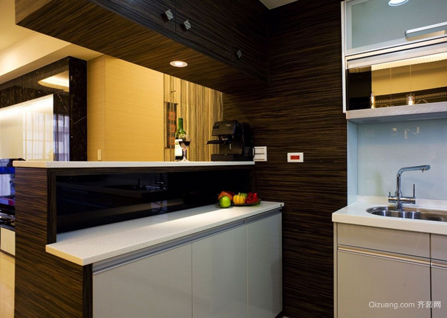 90平米大户型现代欧式厨房吧台装修效果图