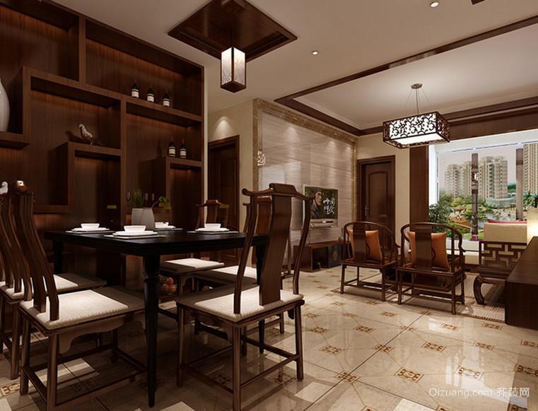 128㎡中式风格餐厅吊顶背景墙装修效果图