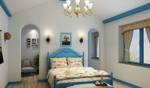 90平米小户型地中海风格卧室背景墙设计装修效果图