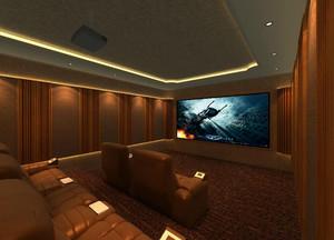 大户型现代欧式客厅私人家庭影院背景墙装修效果图