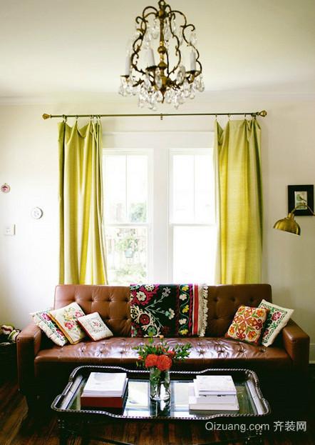 精致美式风格客厅窗帘装修效果图