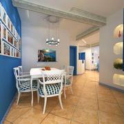 餐厅蓝色墙面欣赏