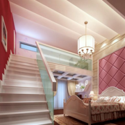 儿童房白色实木楼梯