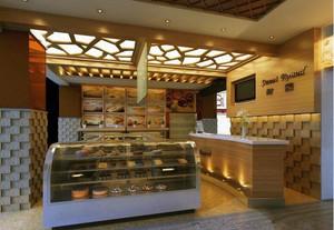 都市现代小户型蛋糕店吊顶背景墙装修效果图
