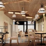 咖啡店实木吊顶设计