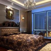 深色系的卧室背景墙
