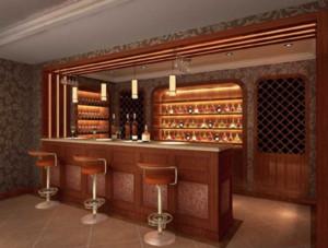 欧式吧台酒柜一体装修效果图