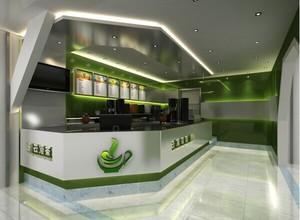 奶茶店绿色背景墙展示