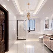 别墅白色大型洗手间