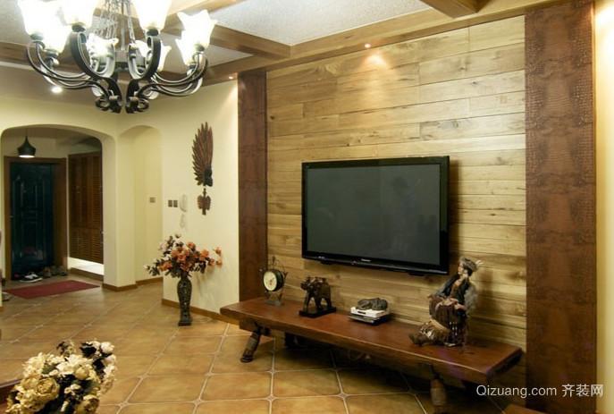 美式木质电视背景墙装修效果图