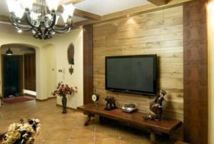 客厅电视墙木质材质效果