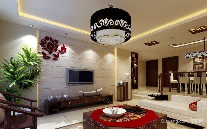 中式复古客厅电视背景墙装修效果图