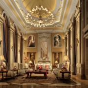 城堡式别墅客厅展示