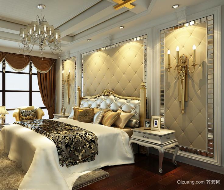 单身公寓欧式卧室床头软包背景墙装修效果图