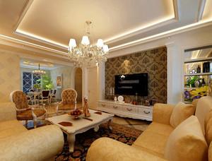 三居室富丽华贵欧式风格客厅吊顶电视背景墙装修效果图