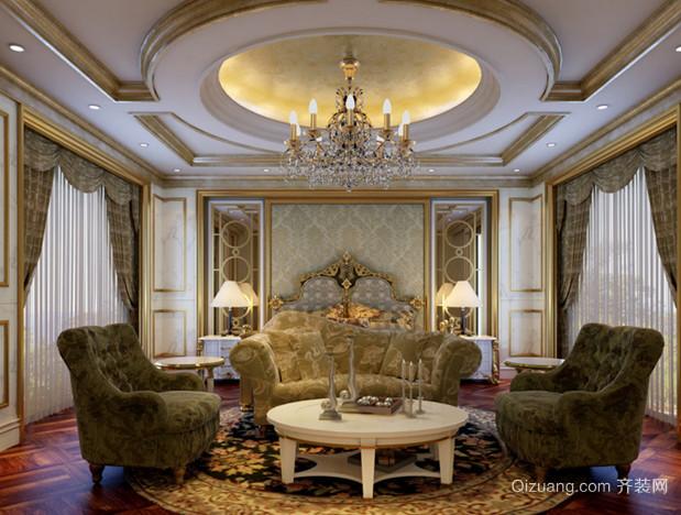 120㎡华贵法式风格客厅吊顶电视背景墙装修效果图