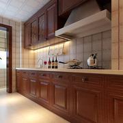 美式典雅木质厨房台面展示