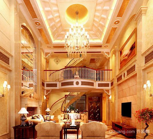 欧式别墅客厅吊灯装修效果图